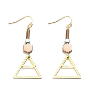 Gold Geometric Triangle Drop Earrings