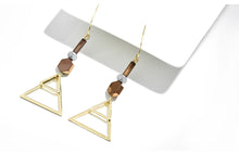 Load image into Gallery viewer, Gold Geometric Triangle Drop Earrings