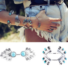 Load image into Gallery viewer, Boho Silver & Turquoise Bracelets