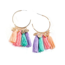 Load image into Gallery viewer, Gold Circle Boho Dangling Tassel Drop Earrings