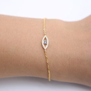 Sterling Silver Turkish Evil Eye Thin Adjustable Chain Bracelet