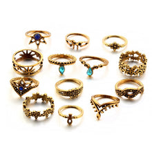 Load image into Gallery viewer, 13 Piece Flower Mid Knuckle Ring Set