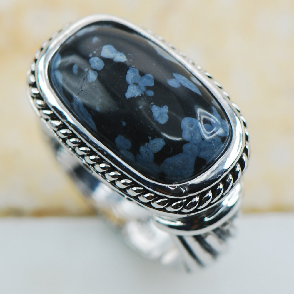 Snowflake Obsidian Sterling Silver Ring