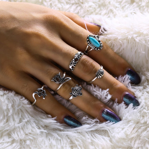 6 Piece Alloy Knuckle Ring Set