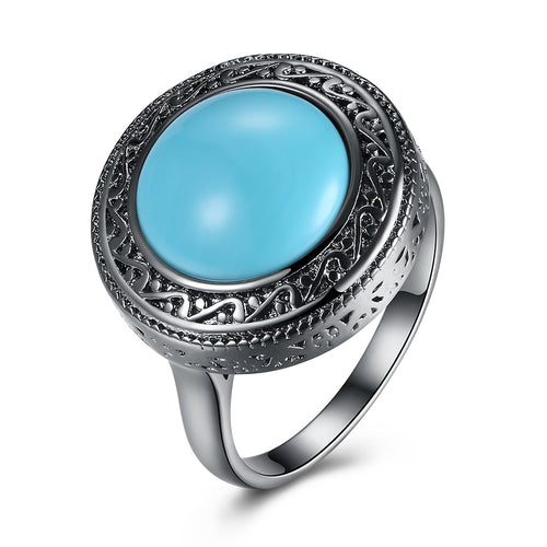 Retro Black and Teal Stone Ring