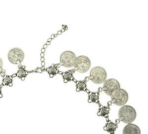 Bohemian Carved Flower Silver Plated Coin Necklace