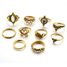 Load image into Gallery viewer, 10 Piece Mid Knuckle Ring Set