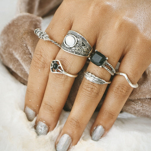 6 Piece Retro Knuckle Ring Set