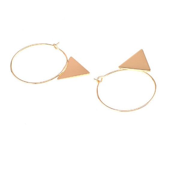 Geometric Copper Triangle Earrings
