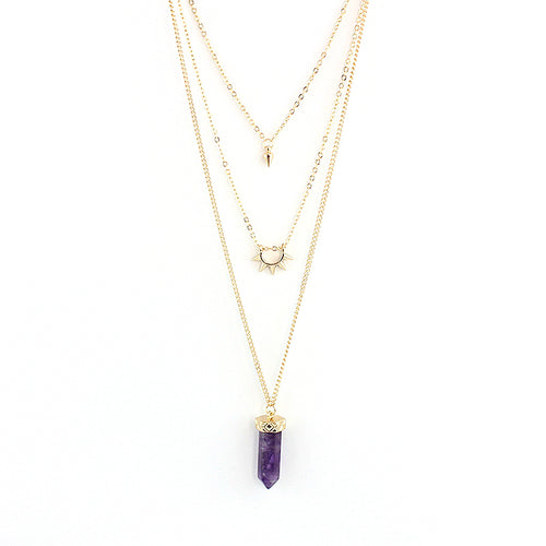 Multi Layer Crystal Stone Necklace