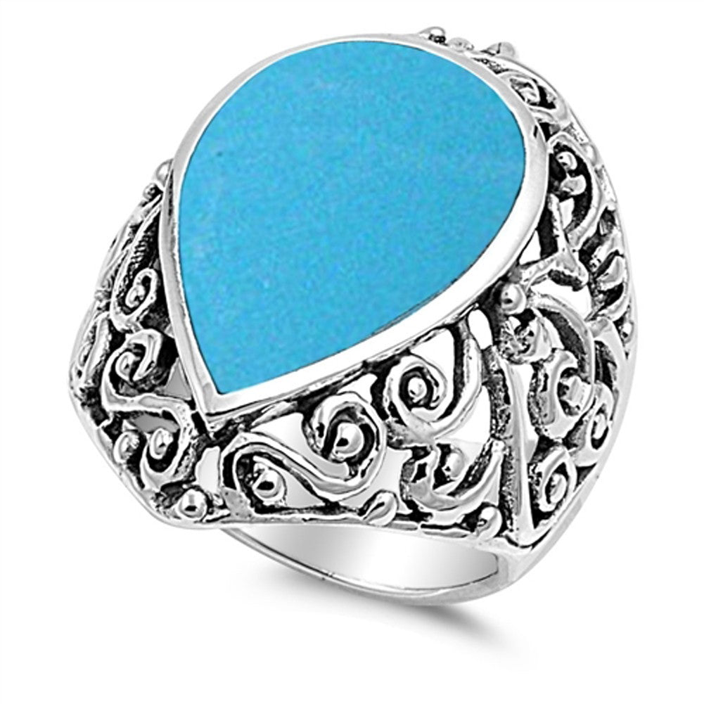 Sterling Silver Pear Simulated Turquoise Ring