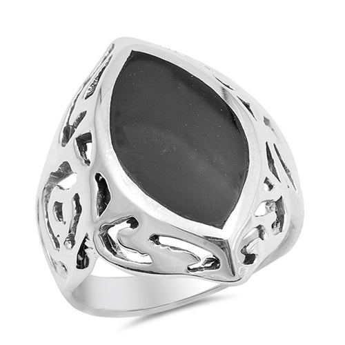 Sterling Silver Marquise Simulated Onyx Ring