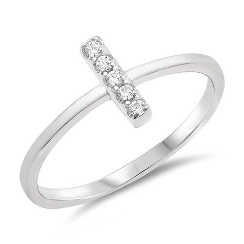 Sterling Silver Round White Simulated Cubic Zirconia Ring