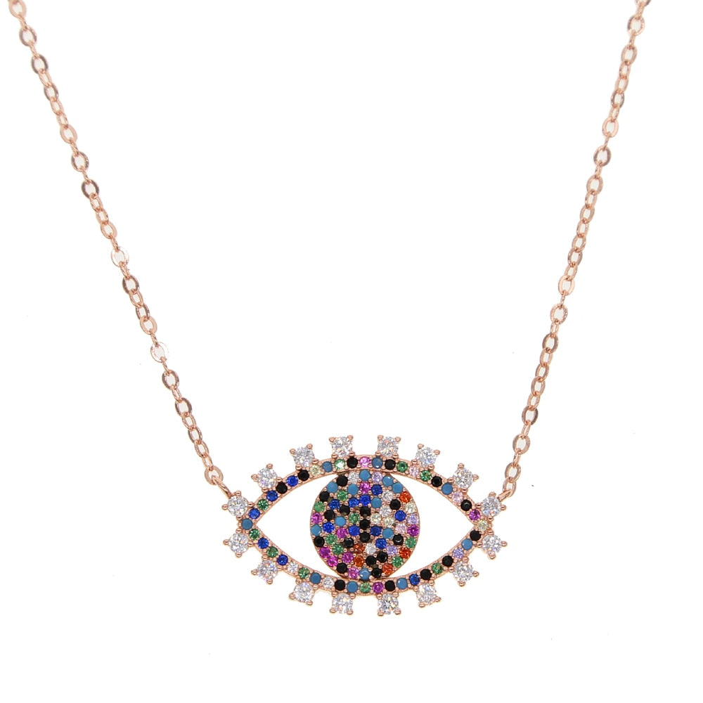 Turkish Evil Eye Rainbow Necklace