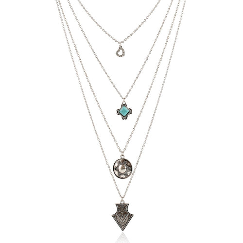 Multi Layer Geometric Necklace With Stones