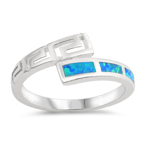 Sterling Silver Blue Simulated Opal Ring