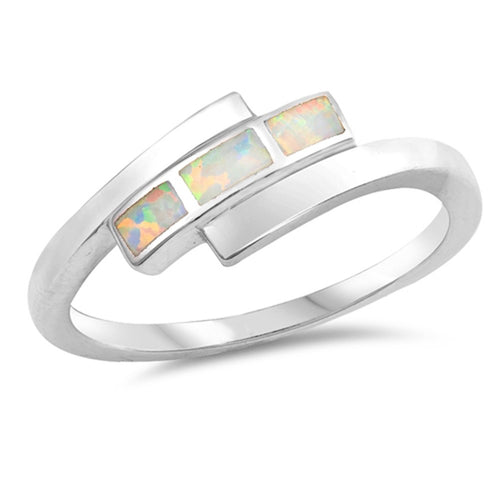 Sterling Silver White Simulated Opal Ring