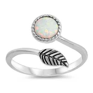 Sterling Silver Round White Simulated Opal Ring