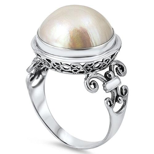Sterling Silver Round Simulated Pearl Ring