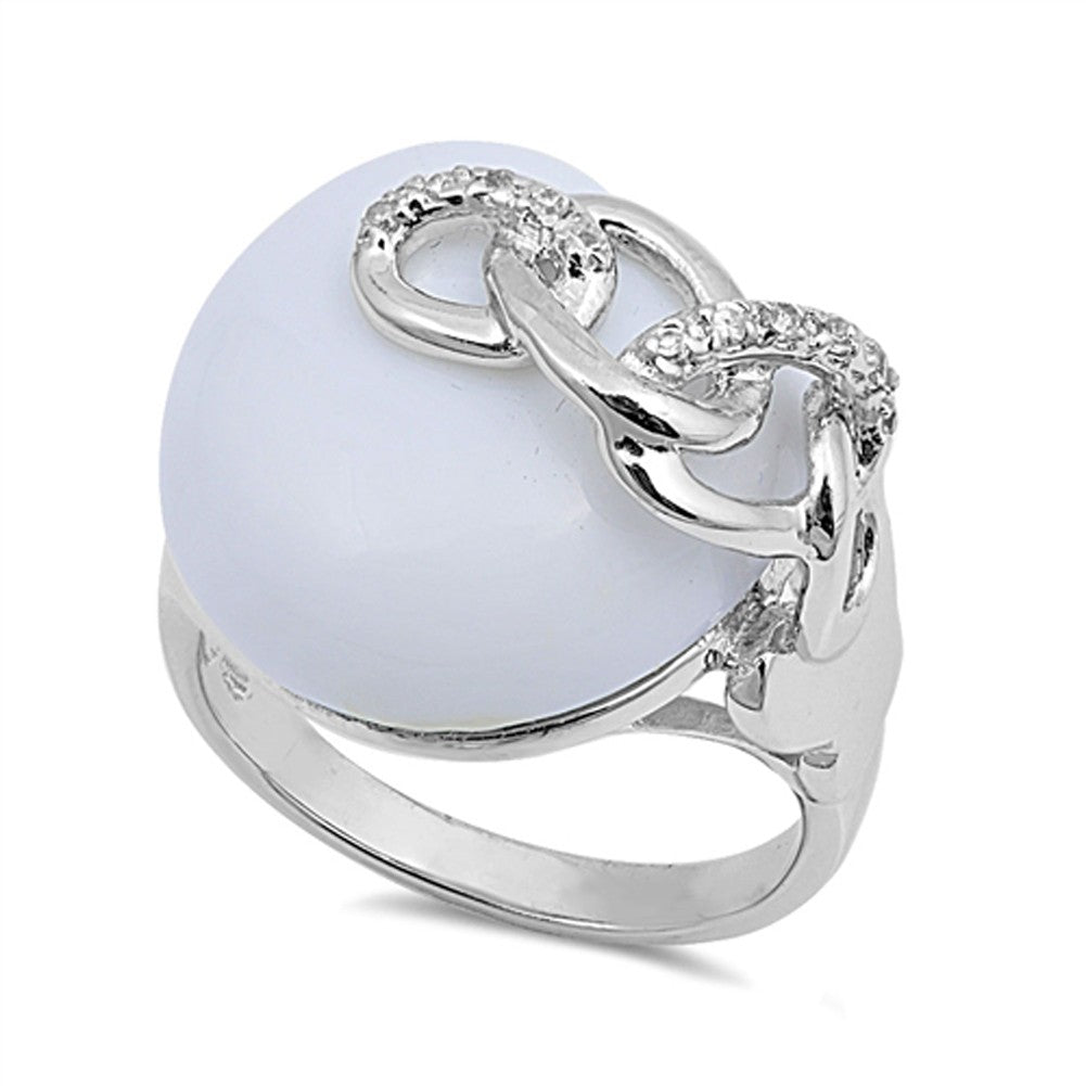 Sterling Silver Round Simulated Mother of Pearl Ring