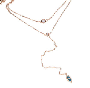 Sterling Silver Turkish Evil Eye Lariat Choker Necklace