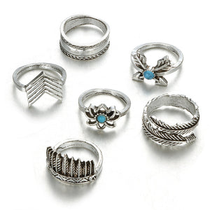 6 Piece Silver Mid Knuckle Ring Set