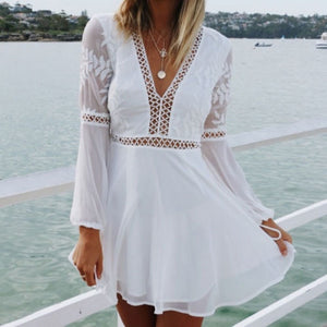 Boho Long Sleeve Backless White Dress