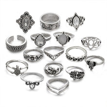 Load image into Gallery viewer, 16 Piece Elephant & Tortoise Inspired Mid Knuckle Ring Set