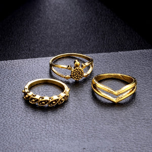 16 Piece Elephant & Tortoise Inspired Mid Knuckle Ring Set