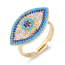 Load image into Gallery viewer, Large Turkish Evil Eye Ring