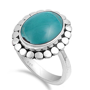 Sterling Silver Oval Simulated Turquoise Ring