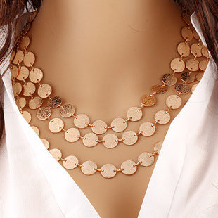 Multi Layer Round Metal Chain Necklace