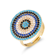 Load image into Gallery viewer, Round Turkish Evil Eye Ring