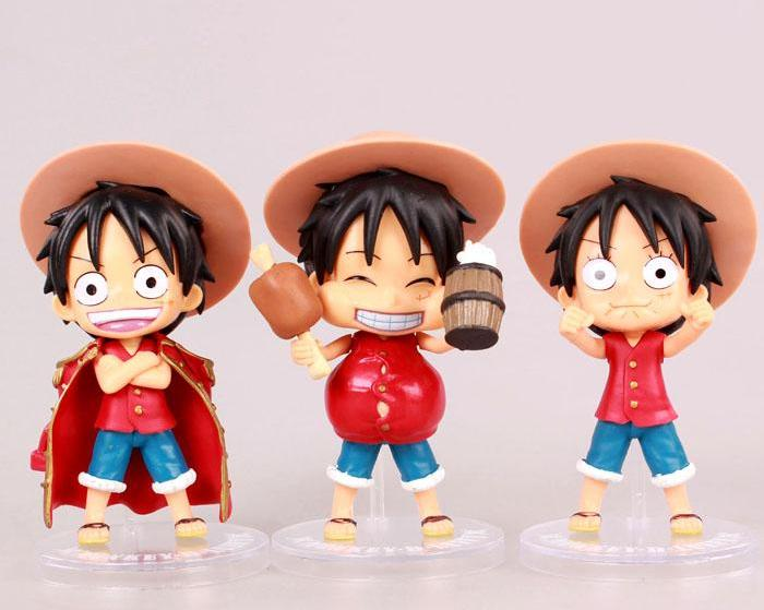Lot de 3 Figurine Luffy Version Cute 12cm - fandemanga