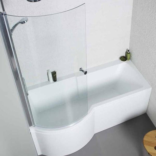 Kartell Adapt P-Shaped Shower Bath with Front Panel and Bath Screen - 1700mm x 700mm/850mm Left Handed - White