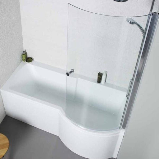 Kartell Adapt P-Shaped Shower Bath with Front Panel and Bath Screen - 1500mm x 700mm/850mm Right Handed - White