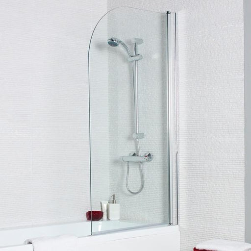 Kartell Koncept Straight Shower Bath Screen with Radius Edge - 780mm Wide - 6mm Glass