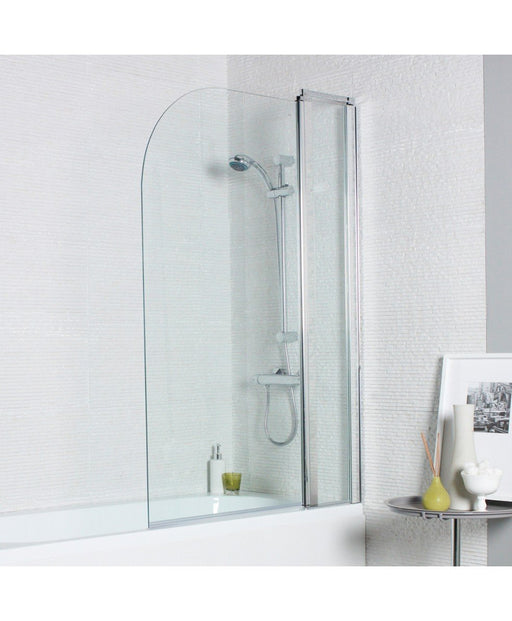Kartell Koncept Straight Shower Bath Screen with Radius Edge and Extension Panel - 1000mm Wide - 6mm Glass