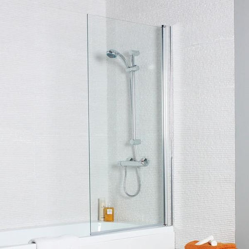 Kartell Koncept Straight Shower Bath Screen with Square Edge - 780mm Wide - 6mm Glass