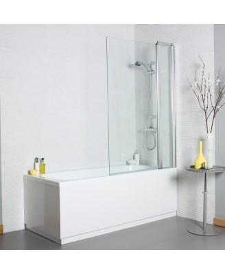 Kartell Koncept Straight Shower Bath Screen with Square Edge and Extension Panel - 1000mm Wide - 6mm Glass