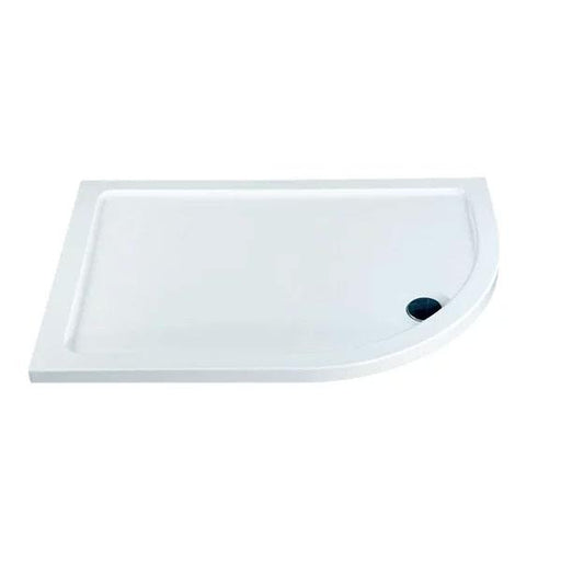 Kartell KT35 Offset Quadrant Shower Tray - 900mm x 760mm - Right Handed - White