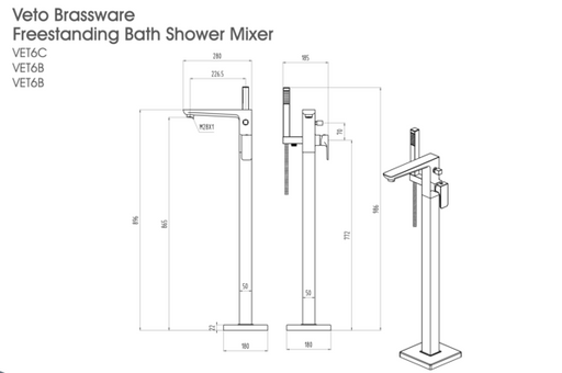 The White Space Veto Freestanding Bath Shower Mixer Tap - VET6C