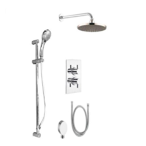 The White Space Thermostatic Dual Shower Valve With Head Shower And Hand Shower And Sliding Rail Kit - WSVD03