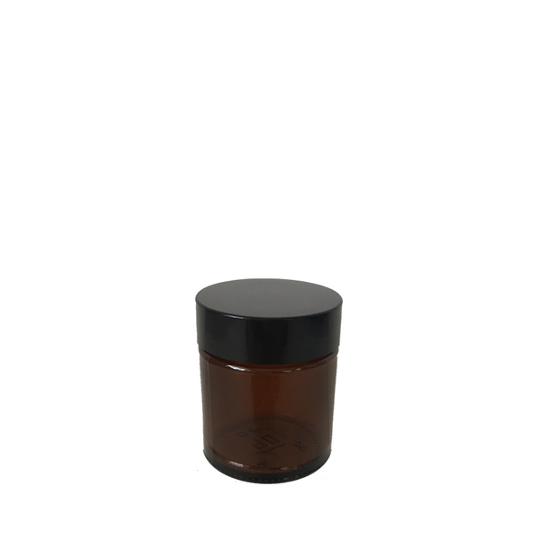 30mL Amber Glass Cosmetic Jar with Black Lid