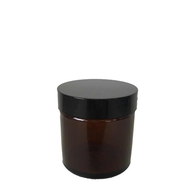 60ml Amber Glass Cosmetic Jar with Black Lid