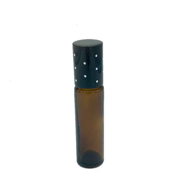 10ml Amber Glass Roller Bottle (Thick Glass) with bling lid