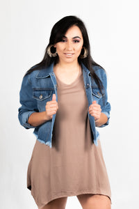 BOYFRIEND JEAN JACKET WITH BOTTON FRINGE - 512 In Style