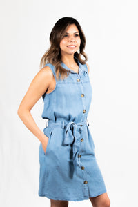 Button Up Denim Dress - 512 In Style