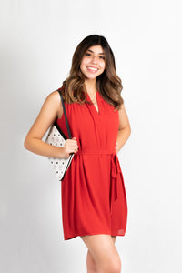 SLEEVELESS FOLDED V-NECK DRESS - 512 In Style