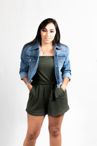SOLID TUBE BELTED ROMPER - 512 In Style